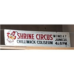 VINTAGE HAND PAINTED SHRINE CIRCUS SIGN
