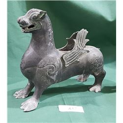ASIAN METAL SCULPTURE OF A GRYPHON