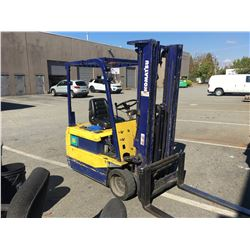 KOMATSU MODEL FB15M-3 3000 LB CAPACITY ELECTRIC FORK LIFT WITH 3 STAGE MAST, SIDE SHIFT AND 2559