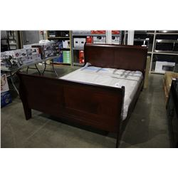LIFESTYLE QUEEN DARK WOOD SLEIGH BED FRAME (MATTRESS NOT INCLUDED)