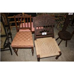 FOLDING DARK WOOD WOVEN CHAIR, PADDED DINING CHAIR AND SMALL BENCH