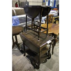 DROP LEAF ROLLING TEA CART WITH DROP LEAF SIDE TABLE