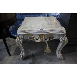 STONE TOP WHITE AND GOLD ACCENT TABLE