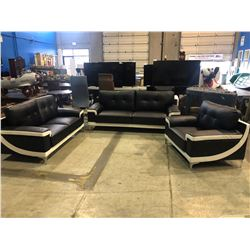 BRAND NEW MODERN LEATHER BLACK & WHITE SOFA, LOVESEAT & CHAIR