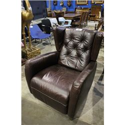 LEATHER BUTTON BACKED RECLINING ARM CHAIR
