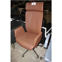 BROWN LEATHER HI-BACK MODERN ROLLING OFFICE CHAIR