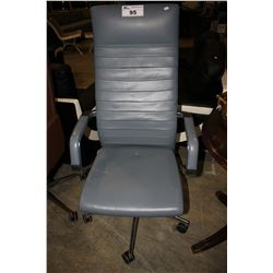 BLUE LEATHER HI-BACK MODERN ROLLING OFFICE CHAIR