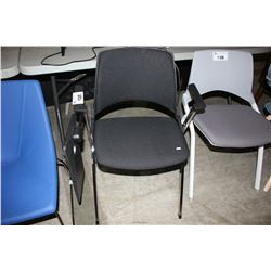 BLACK CHAIR WITH FLIP UP DESK ARM