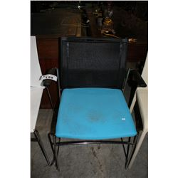 BLACK AND BLUE METAL FRAMED CHAIR