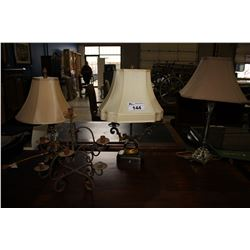 THREE ASSORTED TABLE LAMPS AND CANDLE HOLDER