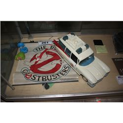 GHOSTBUSTERS COLLECTABLE CAR, WINDOW SCREEN, AND MORE