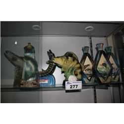 COLLECTION OF FISHING THEMED JIM BEAM AND ASSORTED VINTAGE WHISKEY BOTTLES