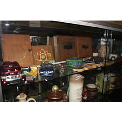 SHELF INCLUDING ASSORTED CIGAR BOXES, MODEL CARS AND MORE