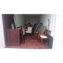 CONTENTS OF SHIPPING CONTAINER INCLUDING ASSORTED FURNITURE AND CHAIRS -  $200 DEPOSIT