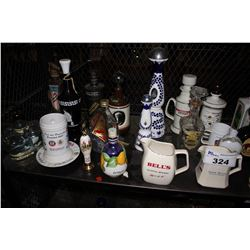 SHELF LOT OF VINTAGE COLLECTABLE LIQUOR BOTTLES, MUGS AND MORE