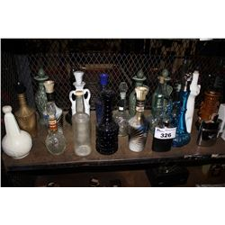 SHELF LOT OF ASSORTED VINTAGE LIQUOR BOTTLES, DECANTERS AND MORE