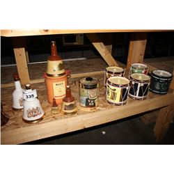 LARGE SHELF LOT OF BELL THEMED VINTAGE LIQUOR BOTTLES, AND DRUM THEMED ICE BUCKETS