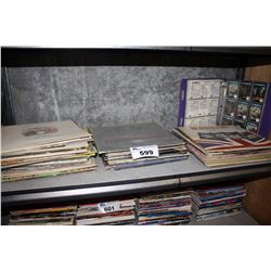 SHELF LOT OF VINYL RECORDS AND CARD COLLECTION