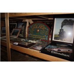 LARGE SHELF OF ARTWORK INCLUDING TRAIN THEMED ART AND BEATLES COLLECTABLES