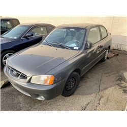 2001 HYUNDAI ACCENT GS, 2DR HATCH, GREY, VIN # KMHCG35G01U155170