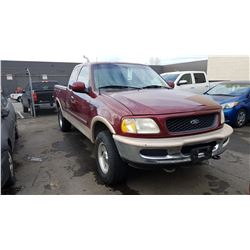 1998 FORD F150, 2DR EXT CAB, RED, GAS, AUTOMATIC, VIN#2FT2X18W9WCA34750, 195,805KMS,