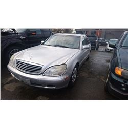2000 MERCEDES S500, 4DRSD, GREY, GAS, AUTOMATIC, VIN#WDBNG70J9YA097884, DEAD BATTERY, TRUNK WON'T