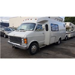 1981 DODGE MOTORHOME, WHITE, GAS, AUTOMATIC, VIN#F44CD9V739663, 61,512 MILES, AC, ONAN 4.0RV