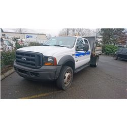 2006 FORD F550, WHITE, DIESEL, AUTOMATIC, DUMP BOX, VIN#1FDAW56PX6EC51331, 145,471KMS, RD,TH,AC, 1