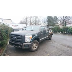 2011 FORD F350 SUPERDUTY, GAS, AUTOMATIC, FLATDECK, VIN#1FT8W3A60BEA06733, 63,043KMS, RD, BACKUP