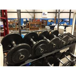 4 SETS OF DUMB BELLS 20LB/15LB/12LB/10LB