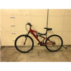 RED NO-NAME 21 SPEED FULL SUSPENSION MOUNTAIN BIKE