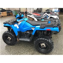 2016 POLARIS SPORTSMAN 450, BLUE, GAS, AUTOMATIC, VIN#4XASEA451GA611091, 482KMS, HAS BC