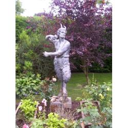FINE LEAD GARDEN STATUE. PAN. 5 FEET TALL CAN BE DATED TO AT LEAST 1700S.  PROVIN.