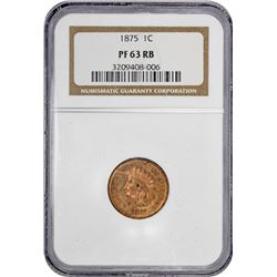 1875 Indian 1¢. Proof-63 RB NGC.