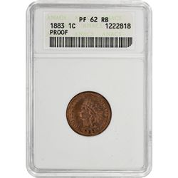 1883 Indian 1¢. Proof-62 RB ANACS.