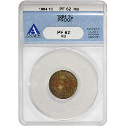 1884 Indian 1¢. Proof-62 RB ANACS.