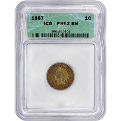 1887 Indian 1¢. Proof-62 BN ICG.