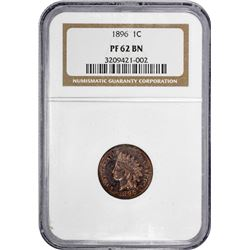 1896 Indian 1¢. Proof-62 BN NGC.