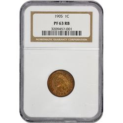 1905 Indian 1¢. Proof-63 RB NGC.