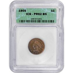 1905 Indian 1¢. Proof-62 BN ICG.