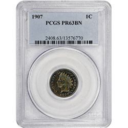 1907 Indian 1¢. Proof-63 BN PCGS.