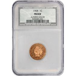 1908 Indian 1¢. Proof-Details NCS