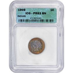 1909 Indian 1¢. Proof-63 BN ICG.
