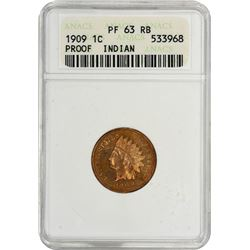 1909 Indian 1¢. Proof-63 RB ANACS.