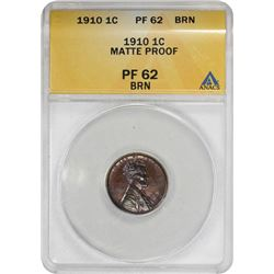 1910 Lincoln 1¢. Matte Proof-62 BN ANACS.