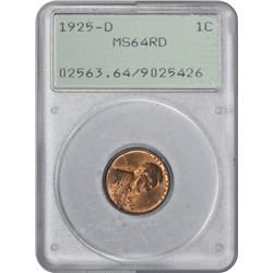 1925-D Lincoln 1¢. MS-64 RD PCGS. OGH.