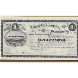 Lot of (45) ND (19xx) $1, Haily-Ola Coal Co., Lutie, Indian Territory. Remainders.