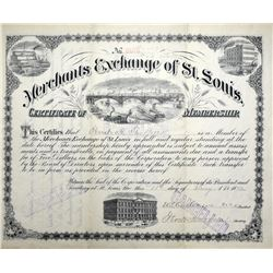 Merchants Exchange of St. Louis Certificate of membership. 1892. About Uncirculated. Cancelled.