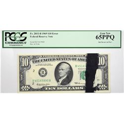 Fr. 2018-B. 1969 $10 Federal Reserve Note. New York. PCGS Currency Gem New 65 PPQ. Ink Smear.