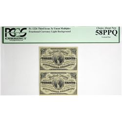 Vertical Strip of (2) Fr. 1226. 3 Cent. Third Issue. PCGS Currency Choice About New 58 PPQ.